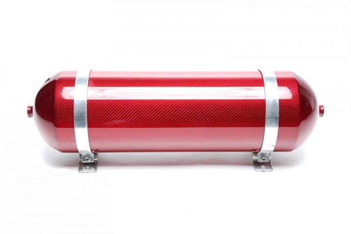 TA Technix nahtloser Lufttank 11 Liter / Lufttank rot mit echt Carbon Furnier